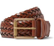 3.5cm Black Woven Leather Belt