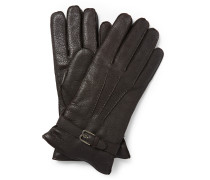 Cashmere-lined Grained-leather Gloves