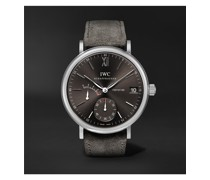 Portofino Hand-Wound Eight Days 45mm Stainless Steel and Suede Watch, Ref. No. IWIW510115