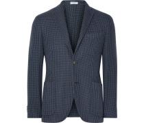 Blue K-jacket Slim-fit Houndstooth Cotton And Silk-blend Blazer