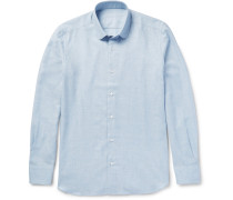 Slim-fit Penny-collar Cotton And Wool-blend Shirt