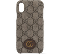 Ophidia Leather-Trimmed Monogrammed Coated-Canvas iPhone X and XS Case