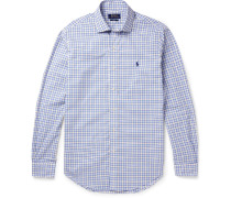 Cutaway-collar Checked Cotton Shirt