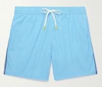 Slim-Fit Mid-Length Striped Swim Shorts