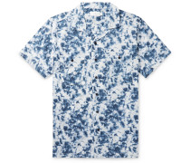 Camp-Collar Acid-Wash Cotton Shirt