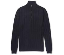 Herringbone Cashmere, Wool And Silk-blend Half-zip Sweater