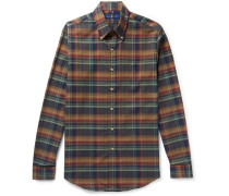 Slim-fit Button-down Collar Checked Cotton-twill Shirt