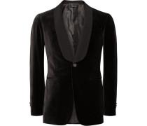 Dark-brown Slim-fit Grosgrain-trimmed Cotton-velvet Tuxedo Jacket