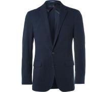 Blue Slim-fit Brushed Stretch Cotton-blend Blazer