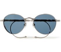Convertible Round-Frame Silver-Tone Sunglasses