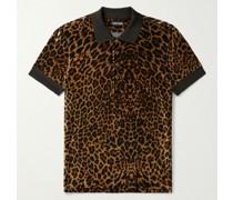 Leopard-Print Velour Polo Shirt