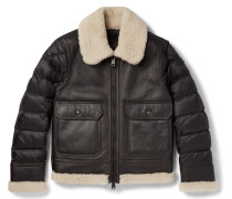 Laredo Shearling-trimmed Leather And Quilted Shell Down Jacket