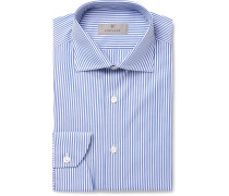 Blue Slim-fit Bengal-striped Cotton-poplin Shirt