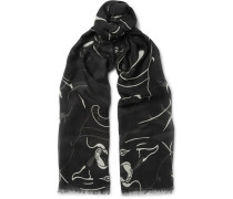 Printed Modal, Cashmere And Silk-blend Scarf