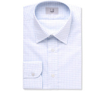 Blue Slim-fit Cutaway-collar Checked Cotton Shirt