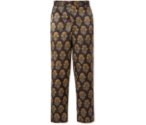 Floral-Print Silk Trousers