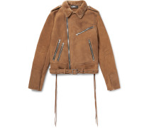 Slim-fit Tasselled Shearling Biker Jacket