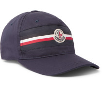 Appliquéd Striped Cotton-twill Baseball Cap