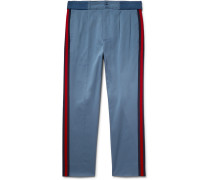 Webbing-trimmed Stretch-cotton Twill Trousers