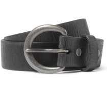 4cm Black Terrance Distressed Leather Belt