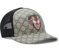 Angry Cat Printed Coated-canvas And Mesh Baseball Cap