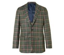 Checked Silk, Linen and Wool-Blend Blazer