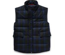 Water-resistant Checked Wool Down Gilet