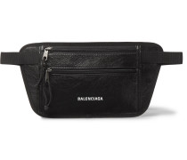 Arena Logo-Print Creased-Leather Belt Bag