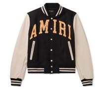 Logo-Appliquéd Wool-Blend and Leather Bomber Jacket