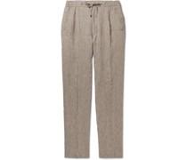 Mélange Linen Drawstring Trousers