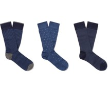Three-Pack Pima Cotton-Blend Socks