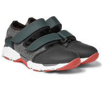 Cutout Neoprene And Felt-panelled Rubber Sneakers