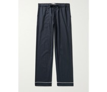 Piped Brushed Cotton-Flannel Pyjama Trousers