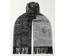 Scritto Reversible Fringed Brushed-Silk Scarf