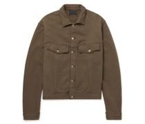 Fleece-Back Cotton-Jersey Trucker Jacket