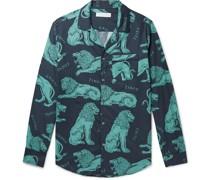 Circe Camp-Collar Piped Printed Cotton Pyjama Shirt