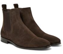 Cap-toe Suede Chelsea Boots