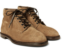 Brogue-detailed Suede Boots
