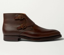 Fry Pebble-Grain Leather Monk-Strap Boots