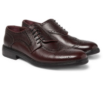 Runway Asymmetric Pebble-grain Leather Wingtip Brogues
