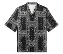 Eren Camp-Collar Bandana-Print Cotton-Voile Shirt