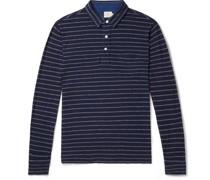 Garment-Washed Striped Slub Cotton Polo shirt