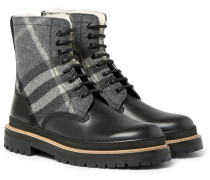 Shearling-lined Checked Felt And Leather Boots