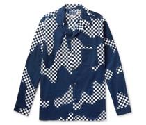 Camp-Collar Checked Cotton-Twill Shirt