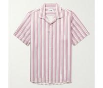 Miyagi Camp-Collar Striped TENCEL and Linen-Blend Shirt
