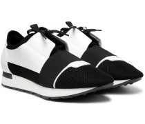Race Runner Patent-leather, Neoprene And Mesh Sneakers