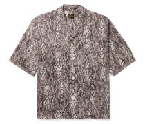 Camp-Collar Snake-Print Cotton Shirt