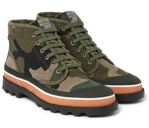 Rubber-trimmed Camouflage Canvas High-top Sneakers