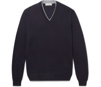 Contrast-tipped Merino Wool Sweater