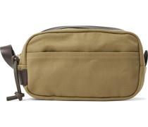 Leather-Trimmed Cotton-Canvas Wash Bag